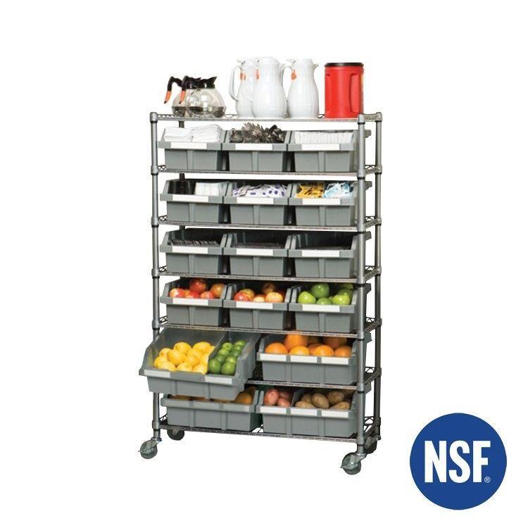 Storage Rack With Bins Shelves Kitchen Restaurant Business