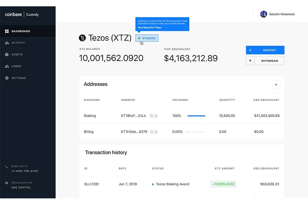 Coinbase Custody Launches Staking Support for Tezos