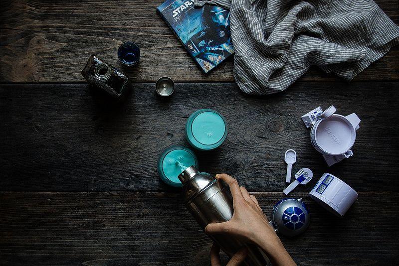 aunt beru's blue milk | two red bowls