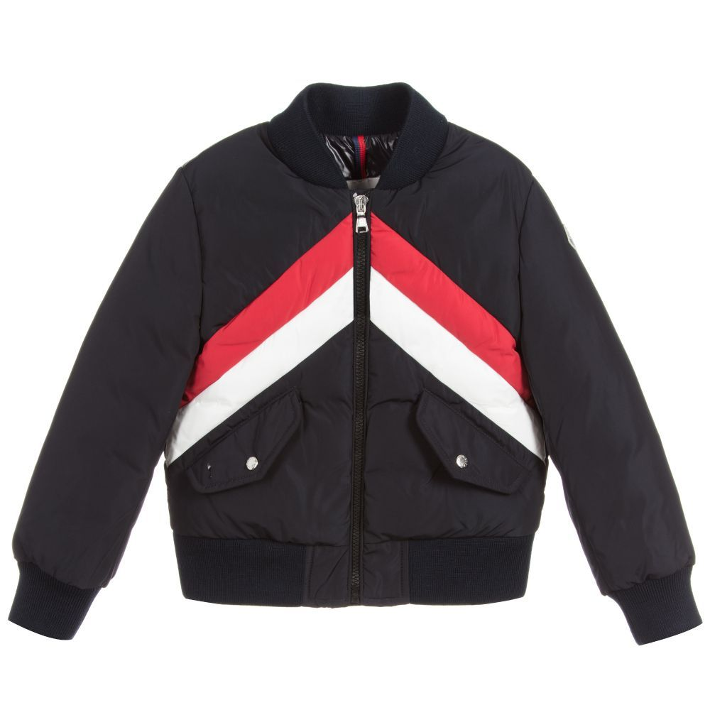 Navy Blue Bomber Jacket For Boys By Moncler With Red And White Chevron Design Padded With Soft D Blue Bomber Jacket Navy Blue Bomber Jacket Blue Puffer Jacket [ 1000 x 1000 Pixel ]
