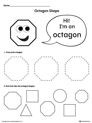 Trace And Color Octagon Shapes Shapes Preschool Shapes Worksheets Shapes Kindergarten Octagon shape worksheets for preschool