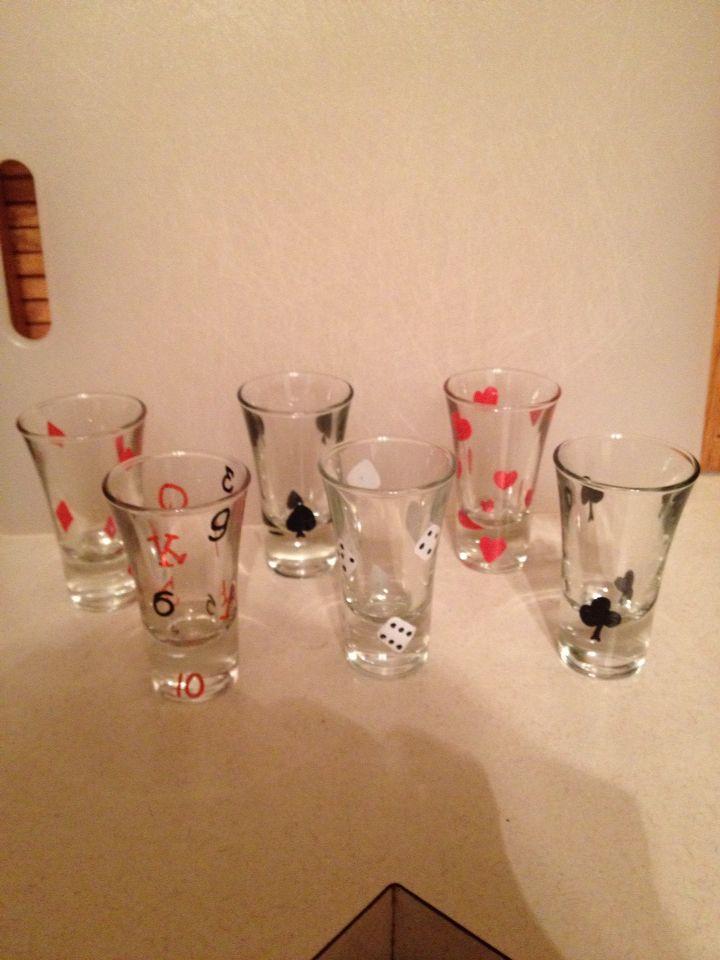 Gambling themed shot glass set
