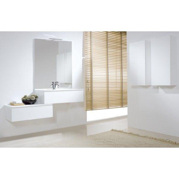 meubles de salle de bain gain de place forme escalier blanc brillant trs moderne - Salle De Bain Gain De Place