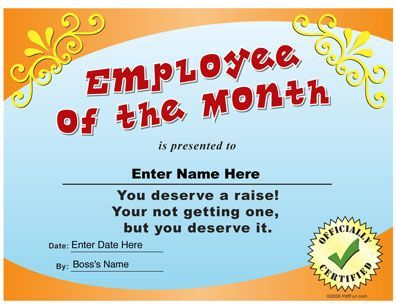 Employee Of The Month Funny Certificate PDF Nice things to do for