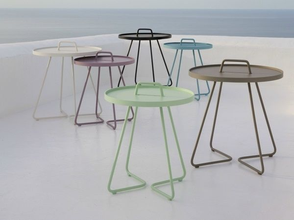 Side Table Round Small Metal Powder Coated Outdoor Handle