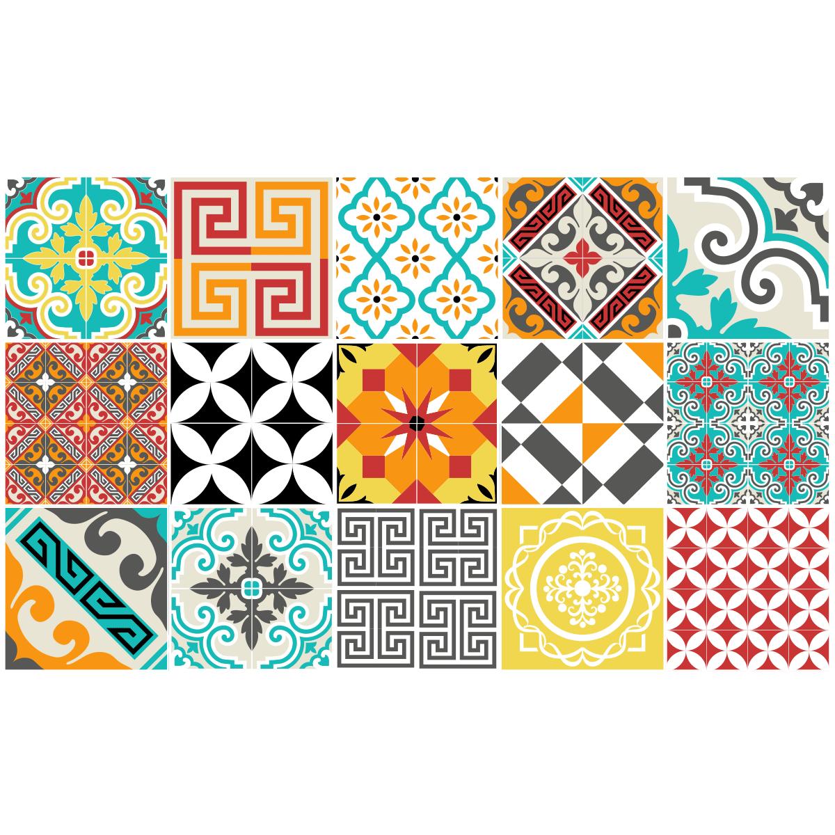 15 Stickers Carrelages Azulejos Mosaique Multicolore Avec Images