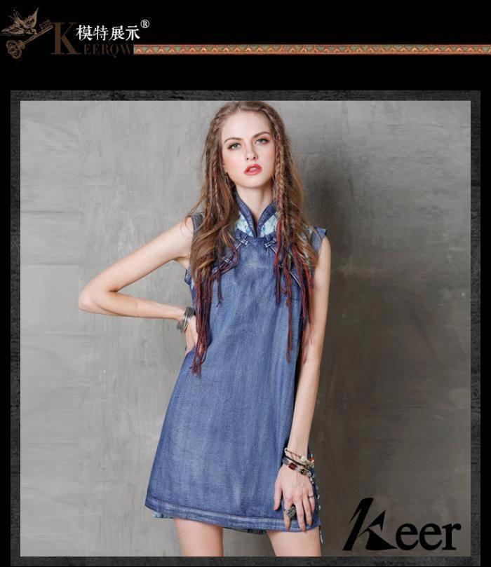 76bb0e263313b women clothing Summer loose cheongsam Vintage Patching Large size Camisoles    Tanks denim Dresses A8126  WomenFashionQuotes
