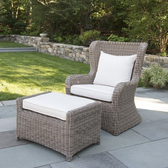 Kingsley Bate Elegant Outdoor Furniture Sag Harbor High Back Lounge Chair And Ottoman Made From All Weather Wicker Cushions In 5453 Canvas