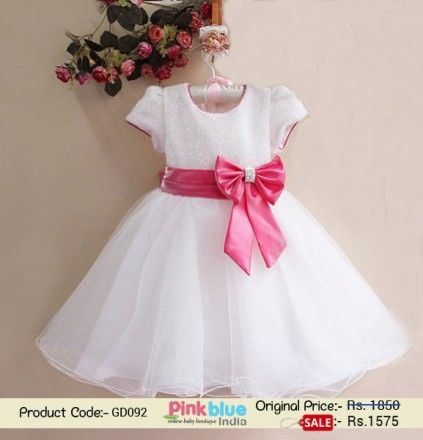 58ea6538016 Kids Girl White Glitter Partywear Dress with Hot Pink Bow