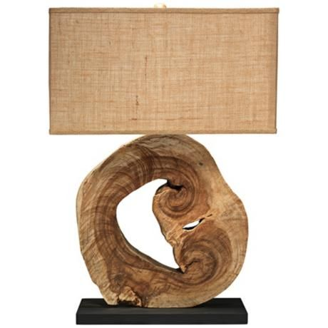 Jamie Young Natural Wood Acacia Table Lamp
