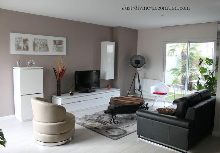 Séjour contemporain taupe, gris, blanc, noir salon Pinterest - decoration salon en gris