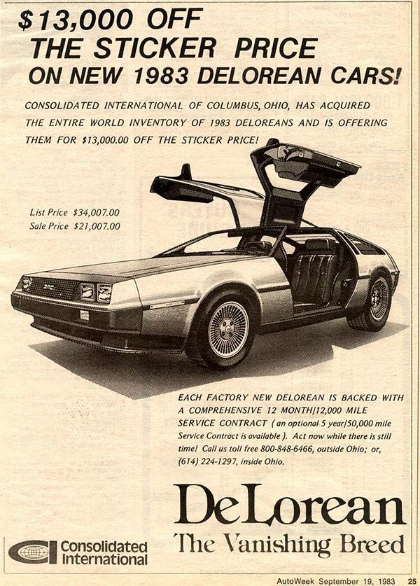 S Advertisement For The Delorean Dmc  Throwback Thursday