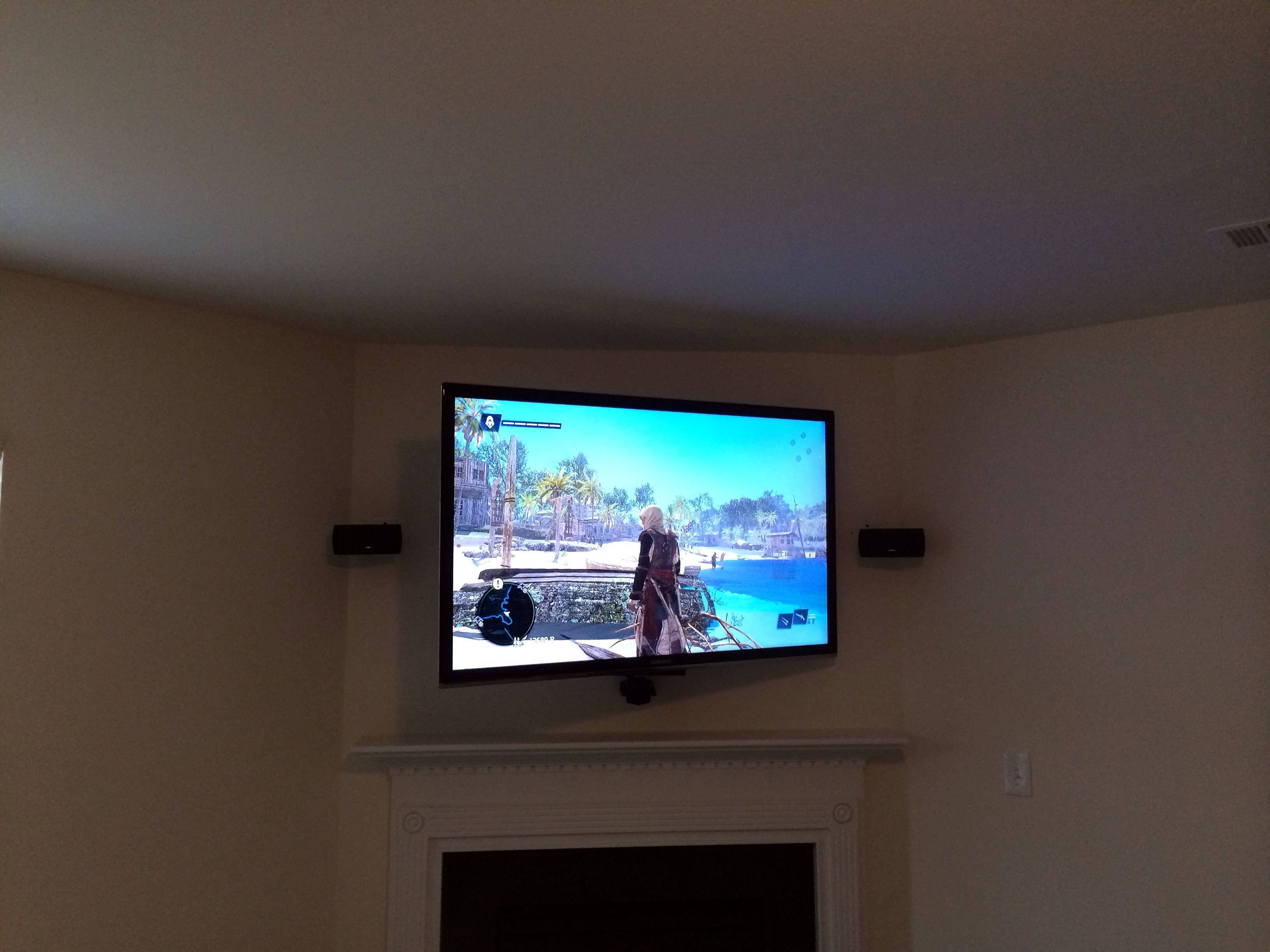 Pin By Tv Mounting Service Charlotte On Wall Home Theater Hdmi Wiring Full Motion Mount Samsung Smart Over Fireplace Mounted Walls Installation Cables