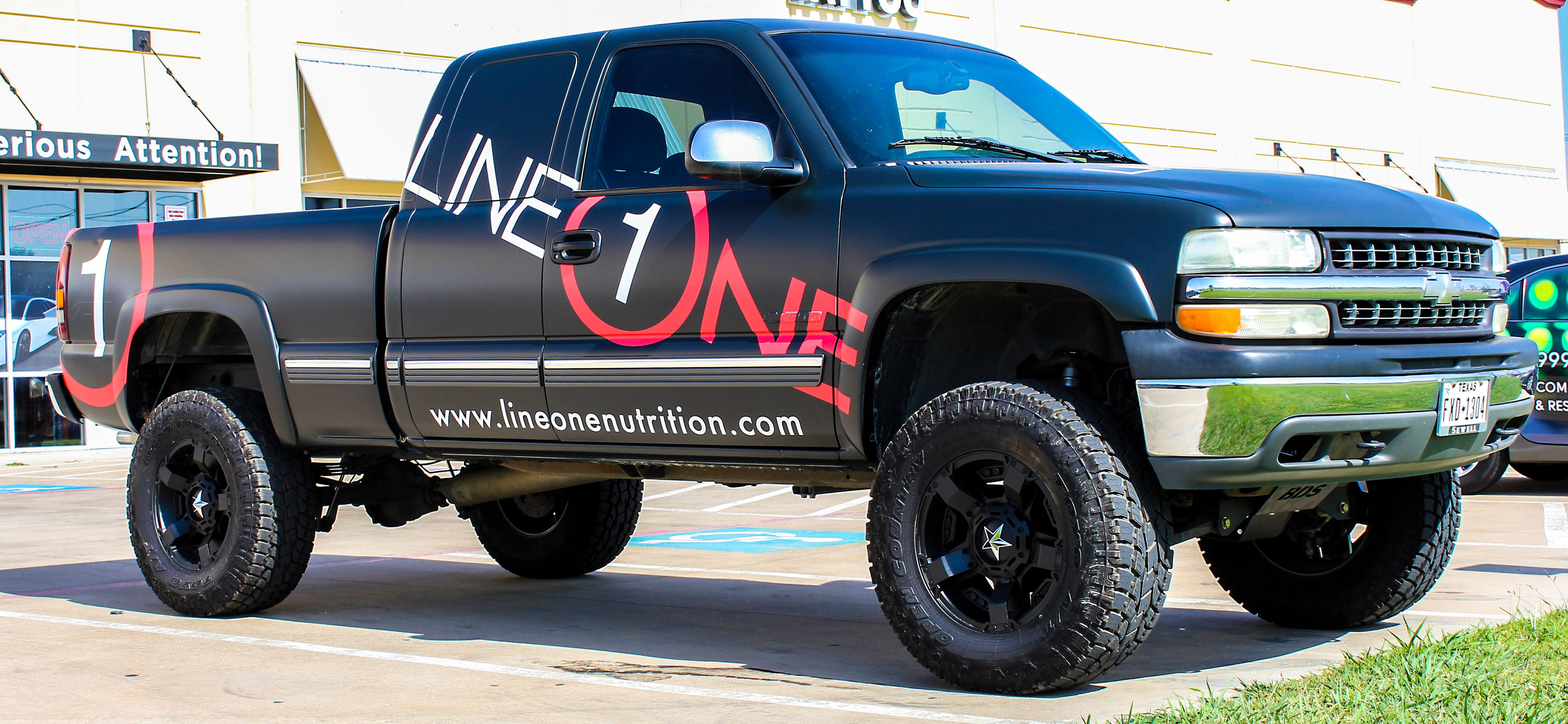 Matte Black Chevy Truck With Gloss Lettering Commercial Vehicle Car Wrap Trucks