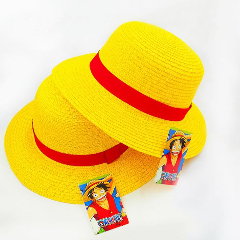 5425043649e 1 Pc Hot sale Anime One Piece Luffy Anime Cosplay Straw Boater Beach Hat Cap  Halloween