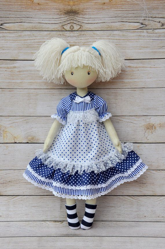 Rag doll Anna, made of cotton fabric, textile doll gift for girls