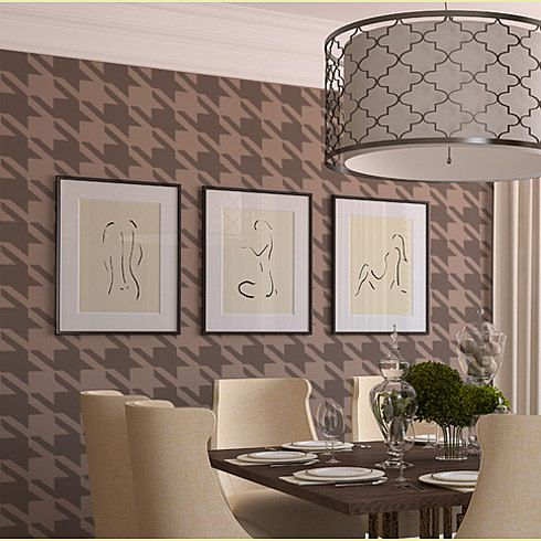 Houndstooth Wall Stencil Large Reusable by CuttingEdgeStencils