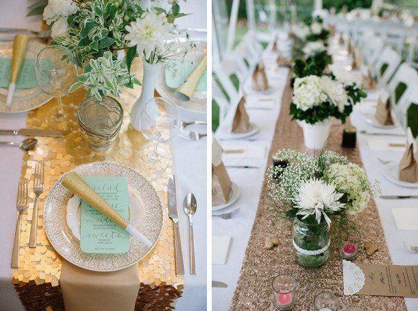elegant and rustic wedding table top decoration idea