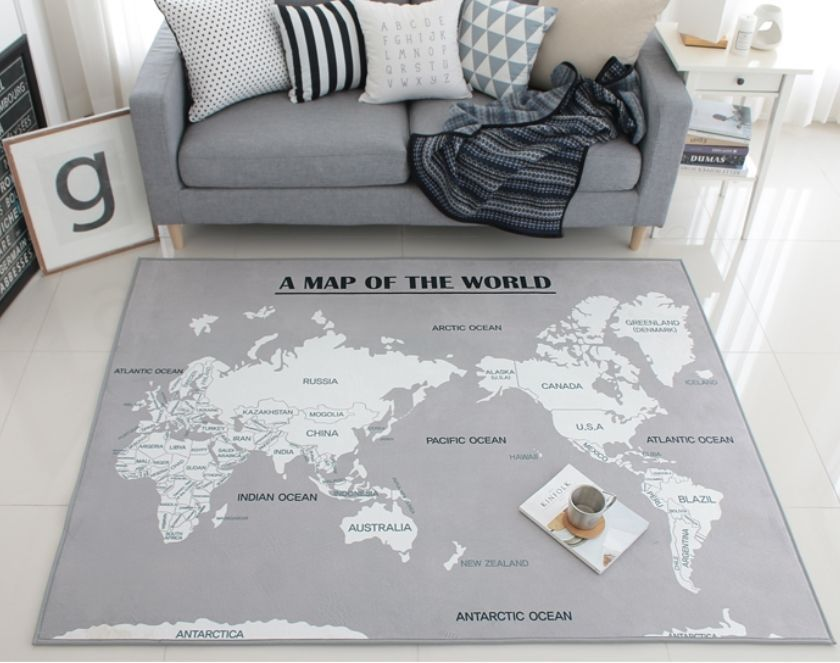 Large world map floor rug area gray ocean decor carpet home stuff floor ruggray vintage style world map decor carpet globe tapete permadani gumiabroncs Gallery