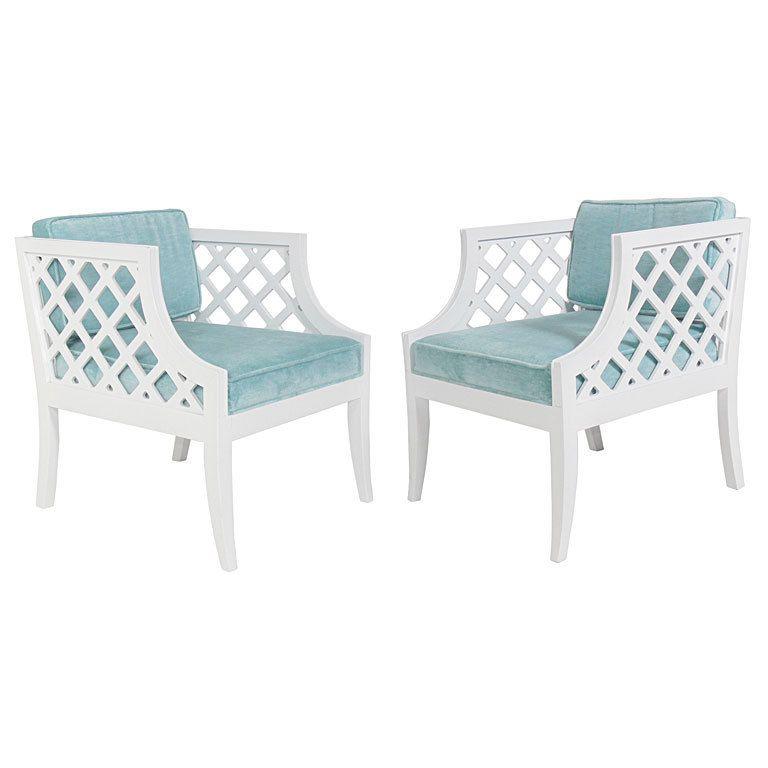 Pair Of Grosfeld House White Lacquer Lattice Cube Chairs USA 1950u0027s Pair Of  White Lacquer Lattice