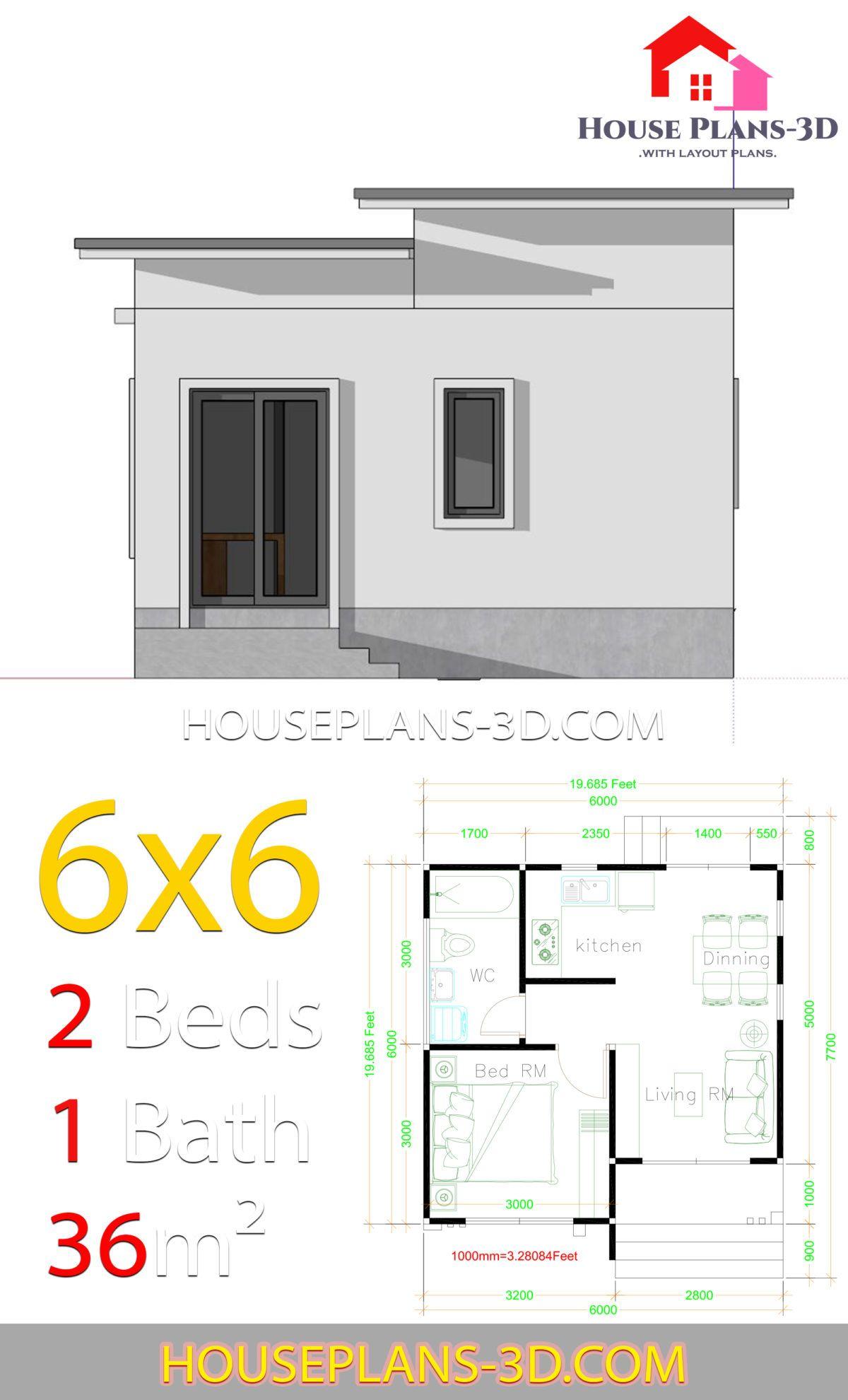 House Plans 6x6 With One Bedrooms Flat Roof House Plans 3d Denah Rumah Rumah Pedesaan Rumah Modern