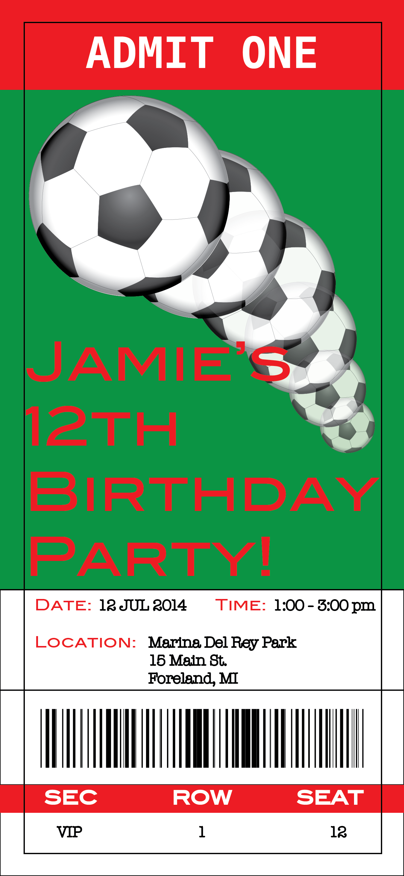 Soccer Party Ticket Invitation Printable  Parties