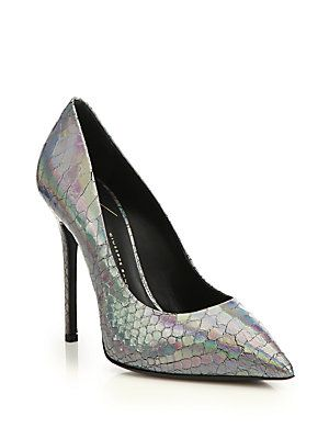 Giuseppe Zanotti Iridescent Snake-Embossed Leather Pumps