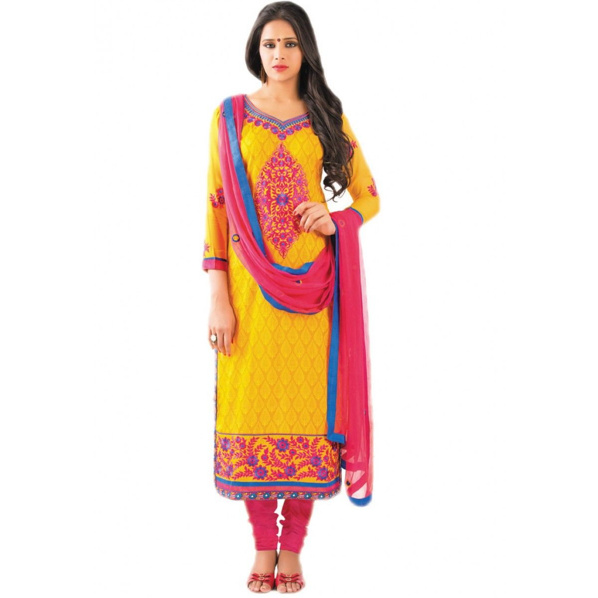 Stylish Yellow Cotton Party Wear #ChuridarKameez #SalwarKameez #AnarkaliSuit #Dress #Clothing