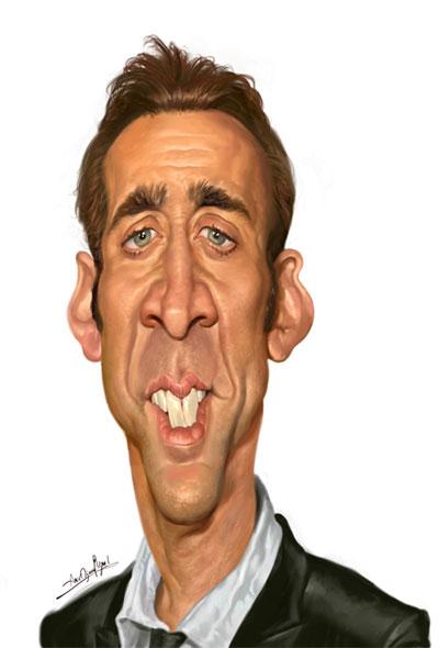Nicolas Cage Artist Amir Taqi Website Http Www Irancartoon Com Daily Amir Htm Celebrity Caricatures Caricature Caricature Artist