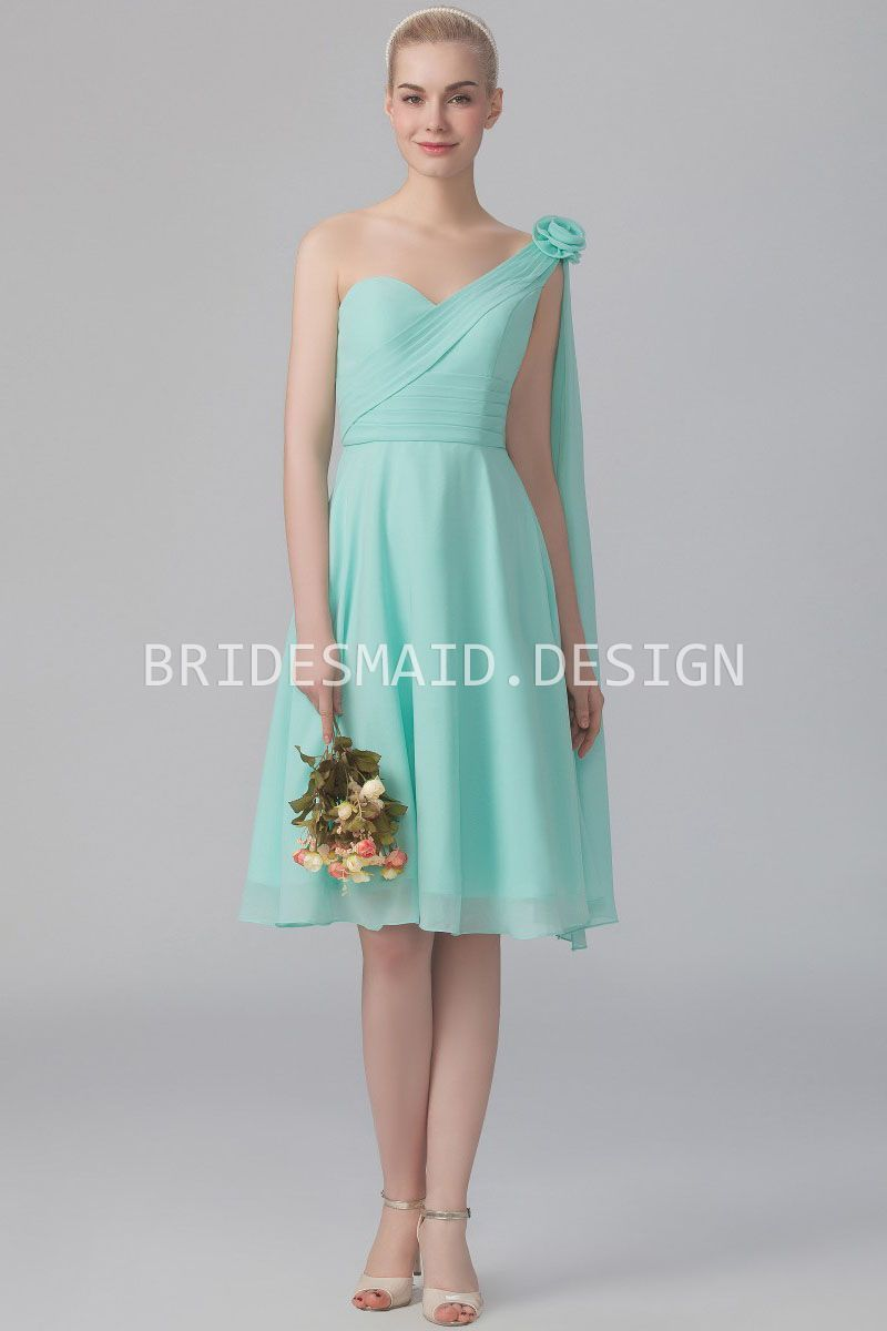 Mint green chiffon cute one shoulder short bridesmaid dress