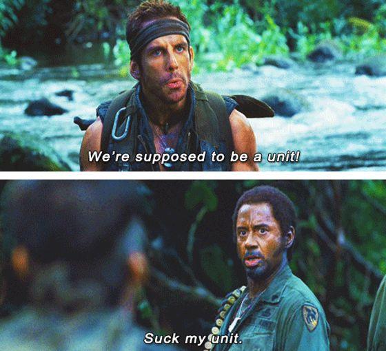 "Ben Stiller and Robert Downey Jr. in ""Tropic Thunder"" | Tropic thunder  quotes, Robert downey jr, Girl memes"