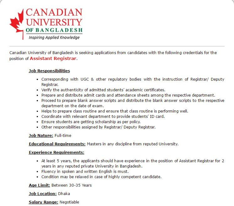 Canadian University of Bangladesh Assistant Registrar Job