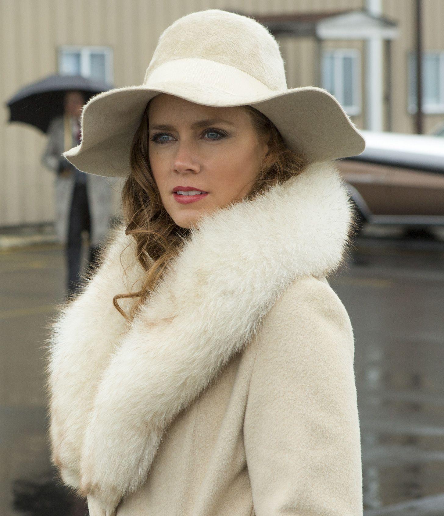 American Hustle inspiration - white fur, white coat, white hat