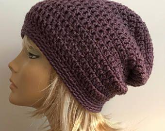 30576487b8f Slouchy Beanie Purple Hat - Crochet Slouch Beanie Purple Womens Beanie  Hipster Hat - Slouchy Beanie - Fall Apparel - Vegan Hat