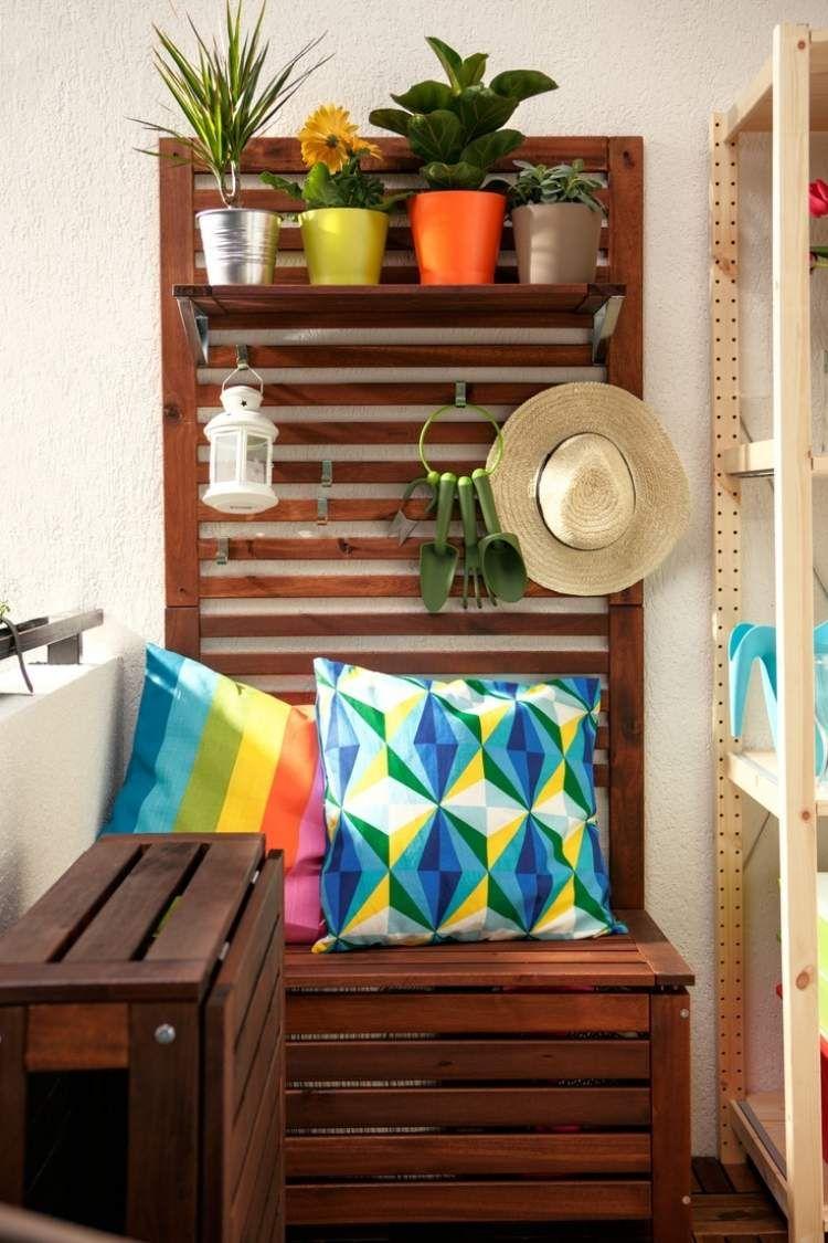 sitzbank und pflanzregal in einem klappbarer holz tisch balkon pinterest. Black Bedroom Furniture Sets. Home Design Ideas