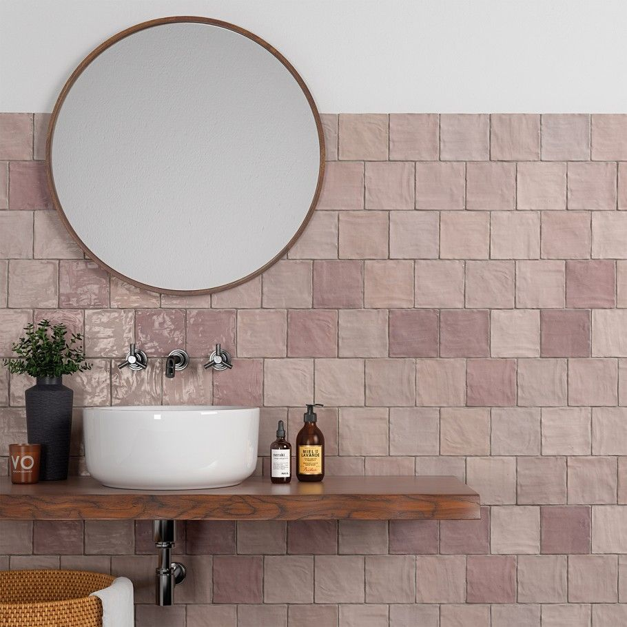 Portmore Pink 4x4 Glazed Ceramic Tile Mimicking The Inside Of A Conch Shell The Portmore Pink 4x4 Tile Is A Beautiful Shade Of