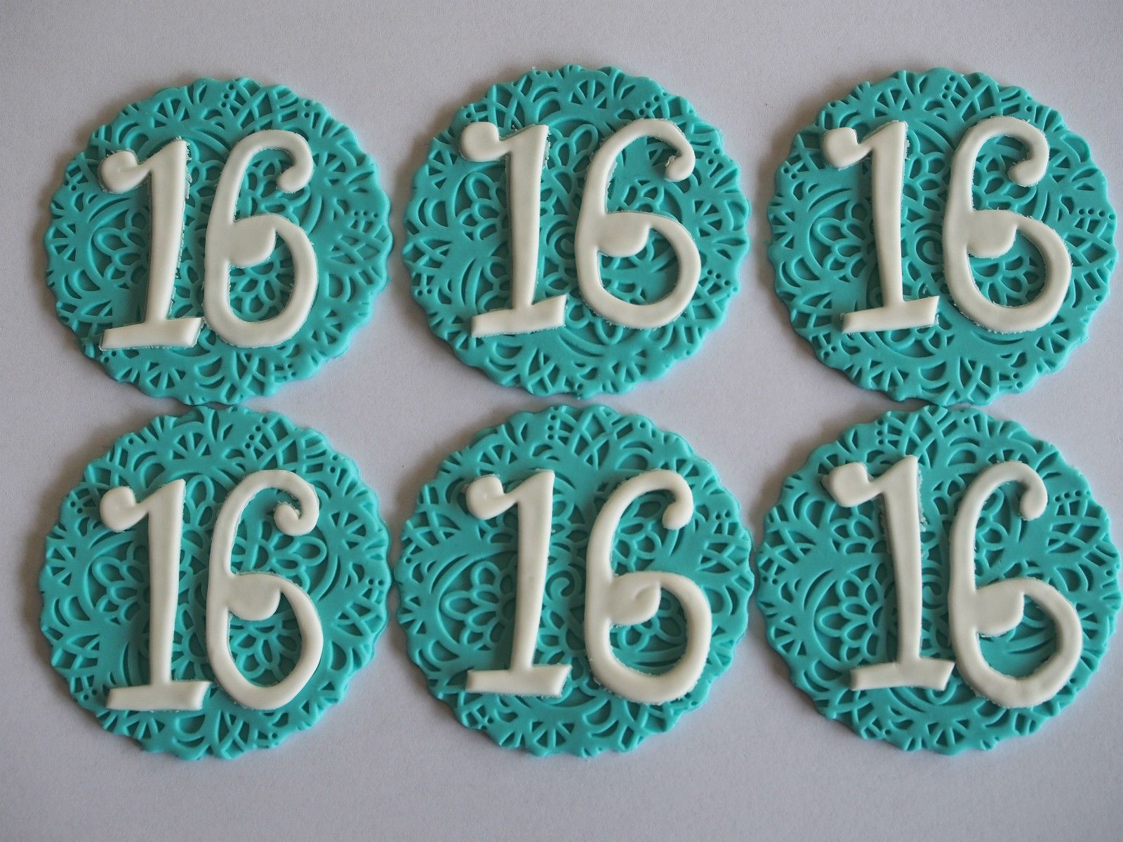 Details about 12 number disc cupcake toppers edible cake