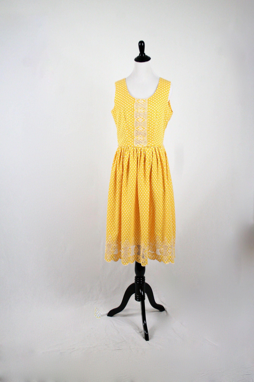 c4288bfe6e 1960s Yellow Polka Dot Sundress Large by YaYaRetro on Etsy