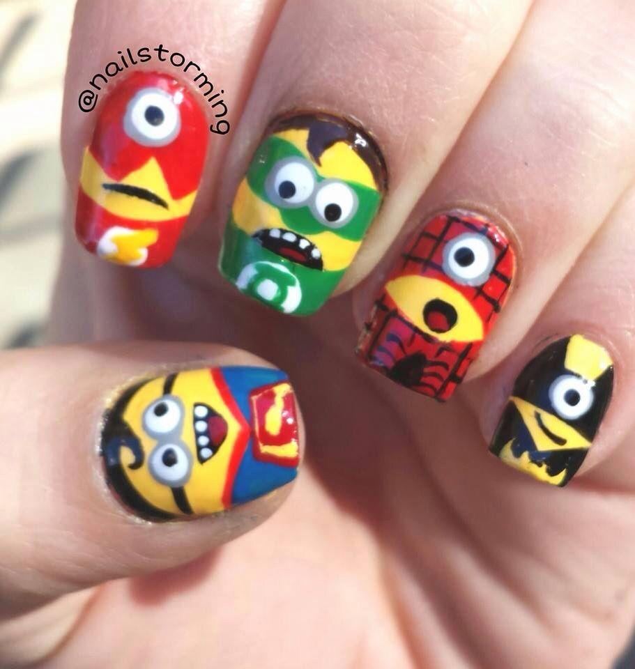 superhero minions by These are awesome! I wish i was good at nail art! - Minion Superheroes Uñas Pinterest Superheroes And Minion Nails