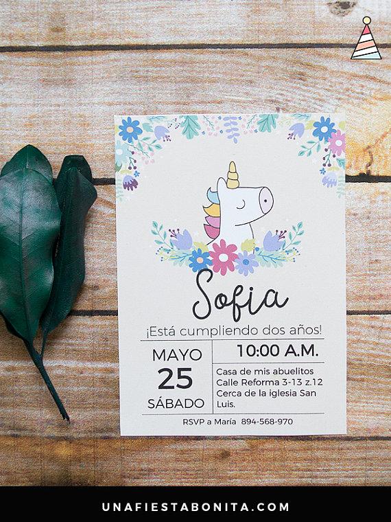 Invitation spring Unicorn en 2018 | Cumple max 5 | Pinterest ...