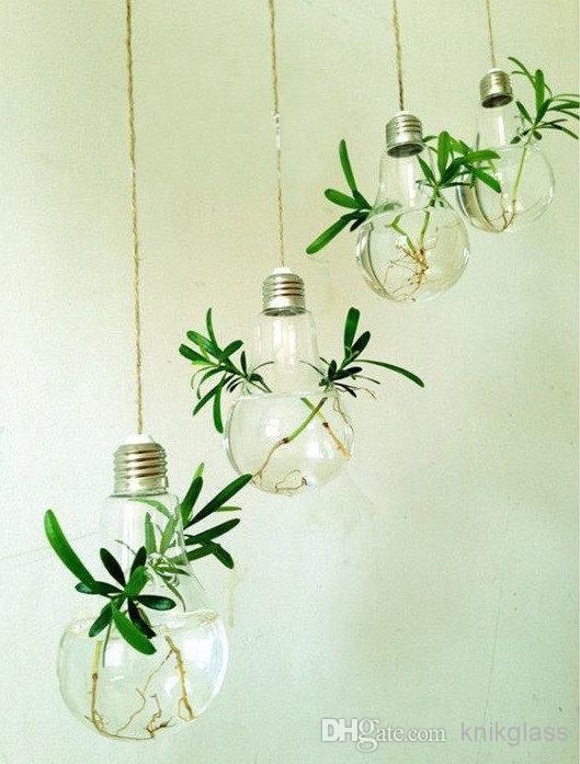 Wholesale Fashion Light Bulb Shape Glass Hanging Terrarium Bulb Vases Air Plant Succulent Terrar Hanging Glass Terrarium Hanging Terrarium Hanging Air Plants