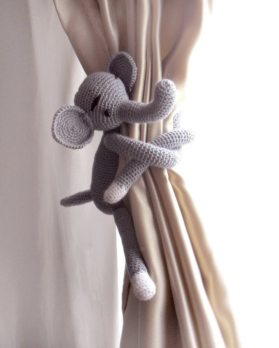 curtain tie backs elephant curtain tie back 1 pcs burlap curtains nursery curtains shabby chic. Black Bedroom Furniture Sets. Home Design Ideas