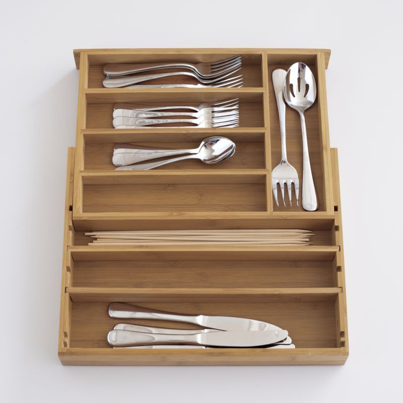 Expandable Bamboo Flatware Tray in Food Containers, Storage | Crate and Barrel