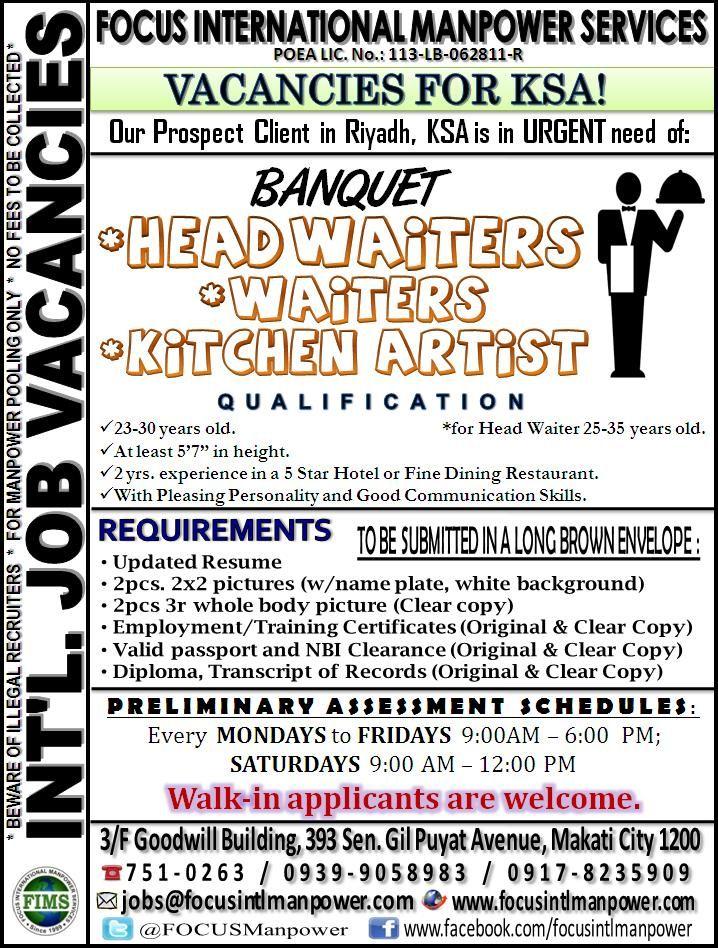 Urgent Job Vacancies For F B Bound For K S A Overseas Jobs Job