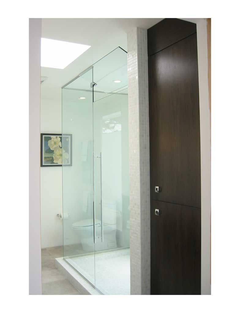 Glass Shower Surround, U Channel Top And Bottom With Operable Transom,  Extra Wide