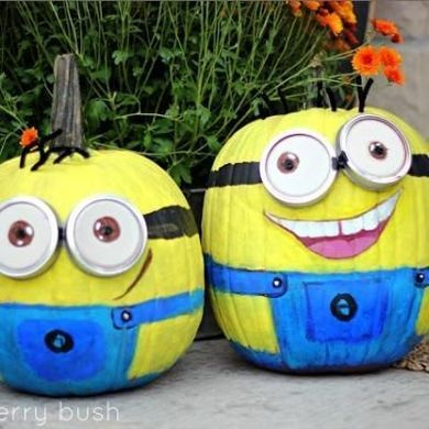 minion painted pumpkins pumpkin facesif your kiddos love despicable me then why not try your hand at painting minion pumpkins this halloween