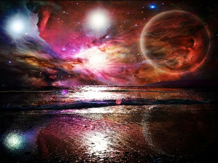 6 Awesome Cosmos Inspired Hd Wallpapers: Beach Outer Space Sea Lights Stars