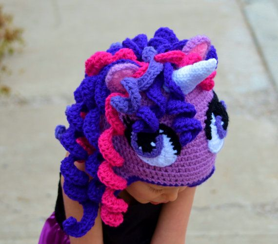 Crochet Pattern For A Unicorn Hat : Crochet Unicorn Hat Pony Hat Halloween hat by ...