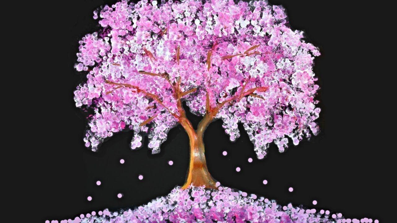 Bath Sponge Q Tips Tree Painting Technique Cherry Blossom Painting Q Tip Painting Cherry Blossom Tree