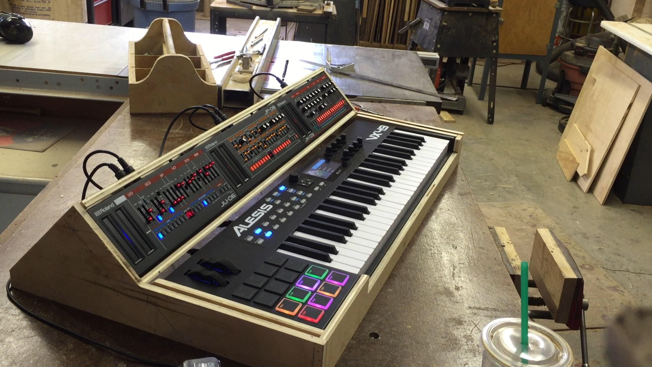 Custom 3 Unit And Controller Stand Case For Roland